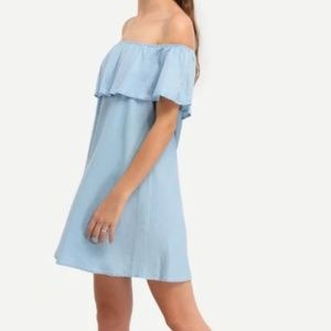 Zara Denim Off the Shoulder Dress
